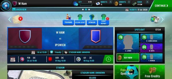 Soccer Manager 2021 Menu