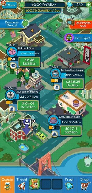 Taps to Riches Screen 1