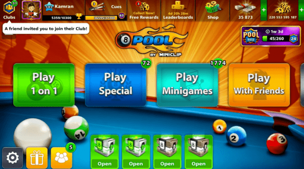 8 Ball Pool Menu