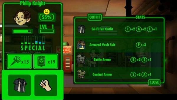 Fallout Shelter Menu