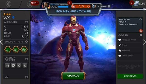MARVEL Contest of Champions Menu