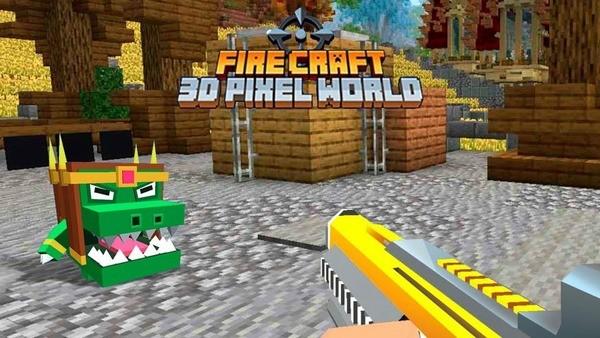 Fire Craft 3D Pixel World Logo